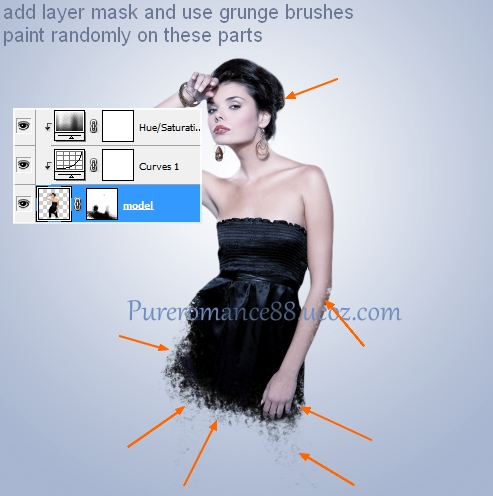 Add layer mask for model layer. Take random grunge brushes and ...